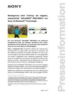 """Pressemitteilung: """"Musikgenuss beim Training: der tragbare, wasserdichte WALKMAN® NWZ-WS613 von Sony mit Bluetooth® Technologie"""""""