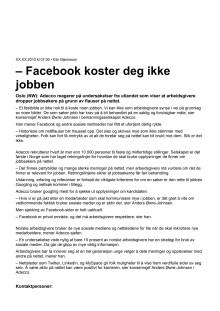Adecco - Facebook koster deg ikke jobben
