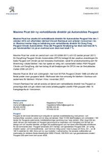 Maxime Picat blir ny verkställande direktör på Automobiles Peugeot