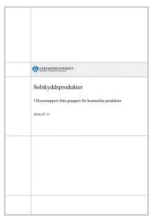 Solskyddsprodukter - Tillsynsrapport från gruppen för kosmetiska produkter