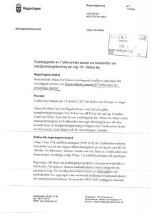 Regeringsbeslut: Överklagande av Trafikverkets beslut om föreskrifter om hastighetsbegränsning på väg 19