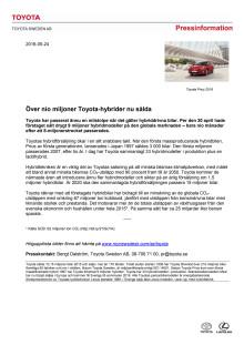 Över nio miljoner Toyota-hybrider nu sålda
