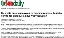 Malaysia must endeavour to become regional & global centre for dialogues, says Vijay Eswaran