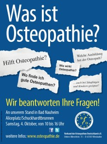 Informationsstand zum Thema  Osteopathie in Bad Nauheim / 17. Internationaler Osteopathie-Kongress