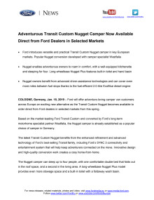 Adventurous Transit Custom Nugget Camper Now Available Direct from Ford Dealers in Selected Markets