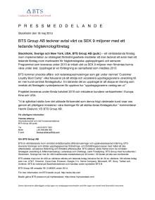 BTS Group AB tecknar avtal värt ca SEK 9 miljoner med ett ledande högteknologiföretag