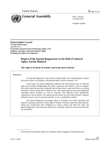 FN-rapport: The right to freedom of artistic expression and creativity (A/HRC/23/34)