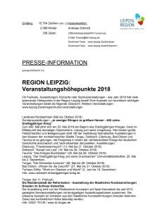 REGION LEIPZIG: Veranstaltungshöhepunkte 2018