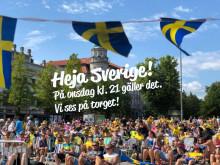 VM-fest på torget när damlandslaget i fotboll spelar semifinal