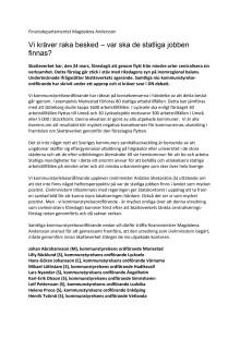 Kommunernas skrivelse till finansminister Magdalena Andersson