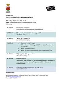 Program Naturvetarmässa Polhemskolan 2019