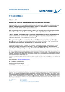 Aquatic Life Sciences and AkzoNobel sign new business agreement