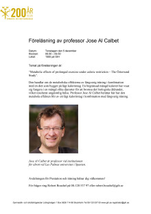 Föreläsning av professor Jose Al Calbet