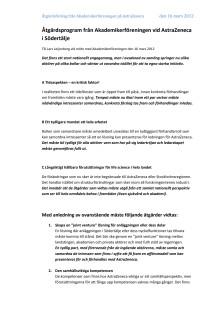 Åtgärdsplan till regeringens samordnare för AstraZeneca