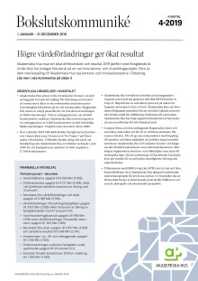 Akademiska Hus bokslutskommuniké 2019