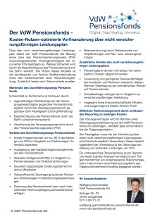 Der VdW Pensionsfonds – Kosten-Nutzen-optimierte Vorfinanzierung über nicht versicherungsförmigen Leistungsplan