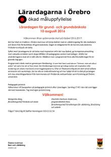 Grundskolans program - Lärardagen i Örebro den 10 augusti 2016