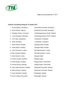 Deltagare i Kvaltävlingen till Yrkes-SM i Norrköping 10 okt 2017
