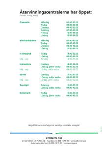 Öppettider återvinningscentraler från den 2 maj 2013