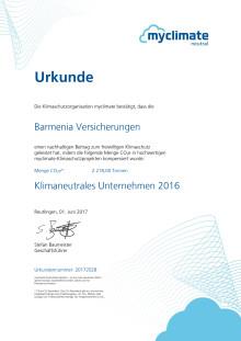 """Barmenia-Urkunde """"Klimaneutrale Hauptverwaltungen 2016"""" von myclimate"""