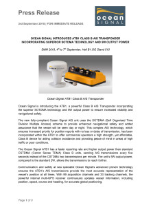 Ocean Signal Introduces ATB1 Class B AIS Transponder