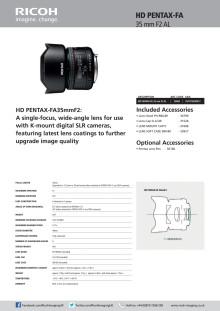 Pentax HD FA 35 mm/f2,0, spec sheet