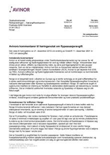 Avinors kommentarer til høringsnotat om flypassasjeravgift