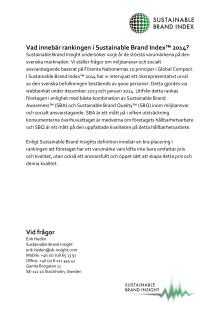 Förklaring till rankingen i Sustainable Brand Index™ 2014