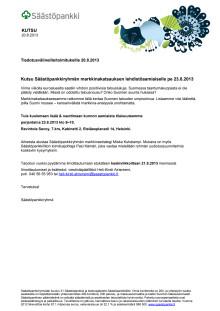 KUTSU markkinakatsaus elokuu 2013
