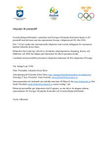 Inbjudan till presskonferens inför OS i Rio