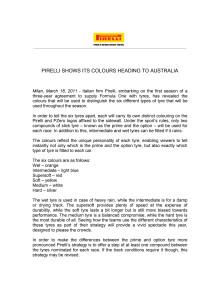 Pirelli Formula 1 press release in English, tyre colors