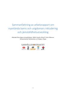 Sammanfattning av forskningsprojektet Nyanlända barn och ungdomars inkludering och jämställdhetsutveckling