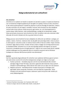 Bakgrundsmaterial om Schizofreni och Xeplion