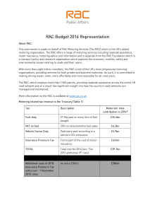 Budget 2016 representation by the RAC