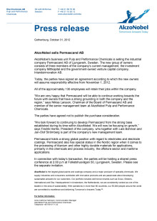 Press release: AkzoNobel sells Permascand AB