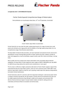 Fischer Panda Expands Comprehensive Range of Watermakers