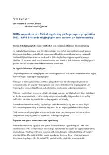 DHRs remissvar gällande införandet av tillgänglighet i diskrimineringslagen (2014)