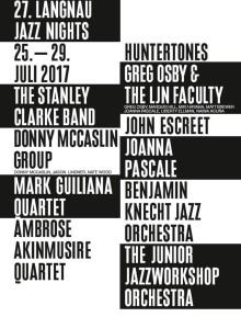 Programm der 27. Langnau Jazz Nights - 25. bis 29. Juli 2017