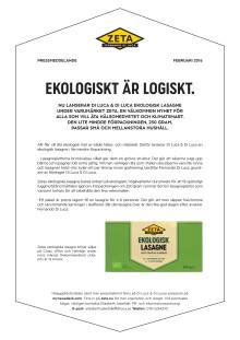 Pressmeddelande Zeta Ekologisk Lasagne