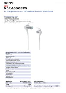 Datenblatt MDR-AS800BTW von Sony