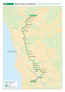 Karta linje 25 i Helsingborg