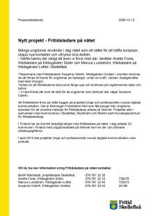 Nytt projekt - Fritidsledare på nätet i Skellefteå