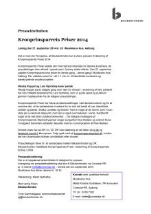 Kronprinsparrets Priser 2014: Invitation til pressen