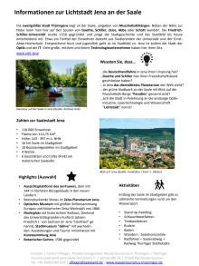 Thüringer Wassertourismus: Informationen zur Lichtstadt Jena an der Saale