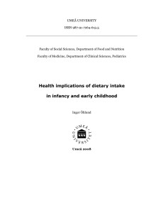 Health implications of dietary intake in infancy and early childhood