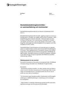 Hyresgästföreningens synpunkter på Bostadsskattekommitténs förslag
