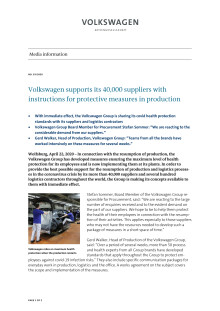 PM Volkswagen supports its 40,000 suppliers with instructions for protective measures in production