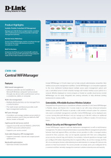 Produktinformation, D-Link Central WiFiManager,