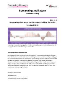 Bemanningsindikatorn Q3 2012, sammanfattning: Omställningssiffrorna förvånande låga