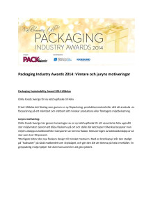 Packaging Industry Awards 2014 Juryns motivering